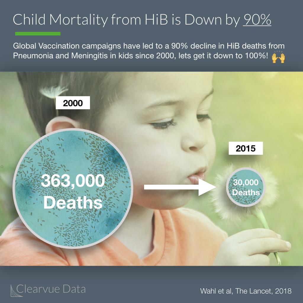 HiB Child Mortality has decreased 90% around the world