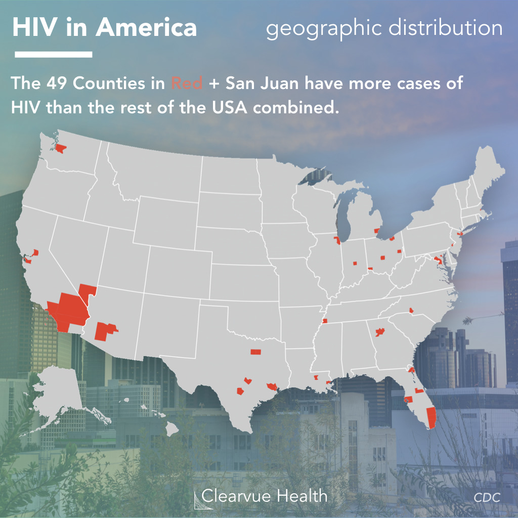 Map showing Counties with the most HIV diagnoses