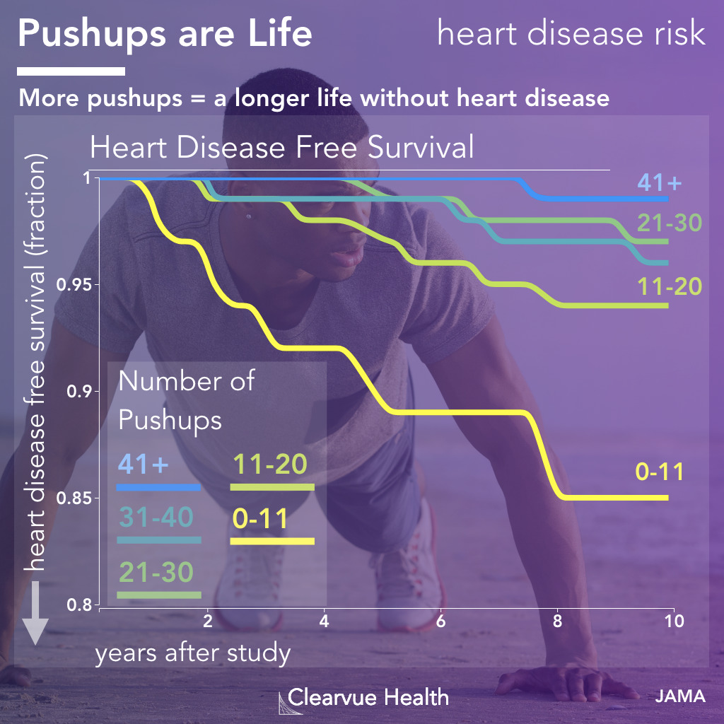 kaplan meier survival diagram for push-ups and heart disease free survival
