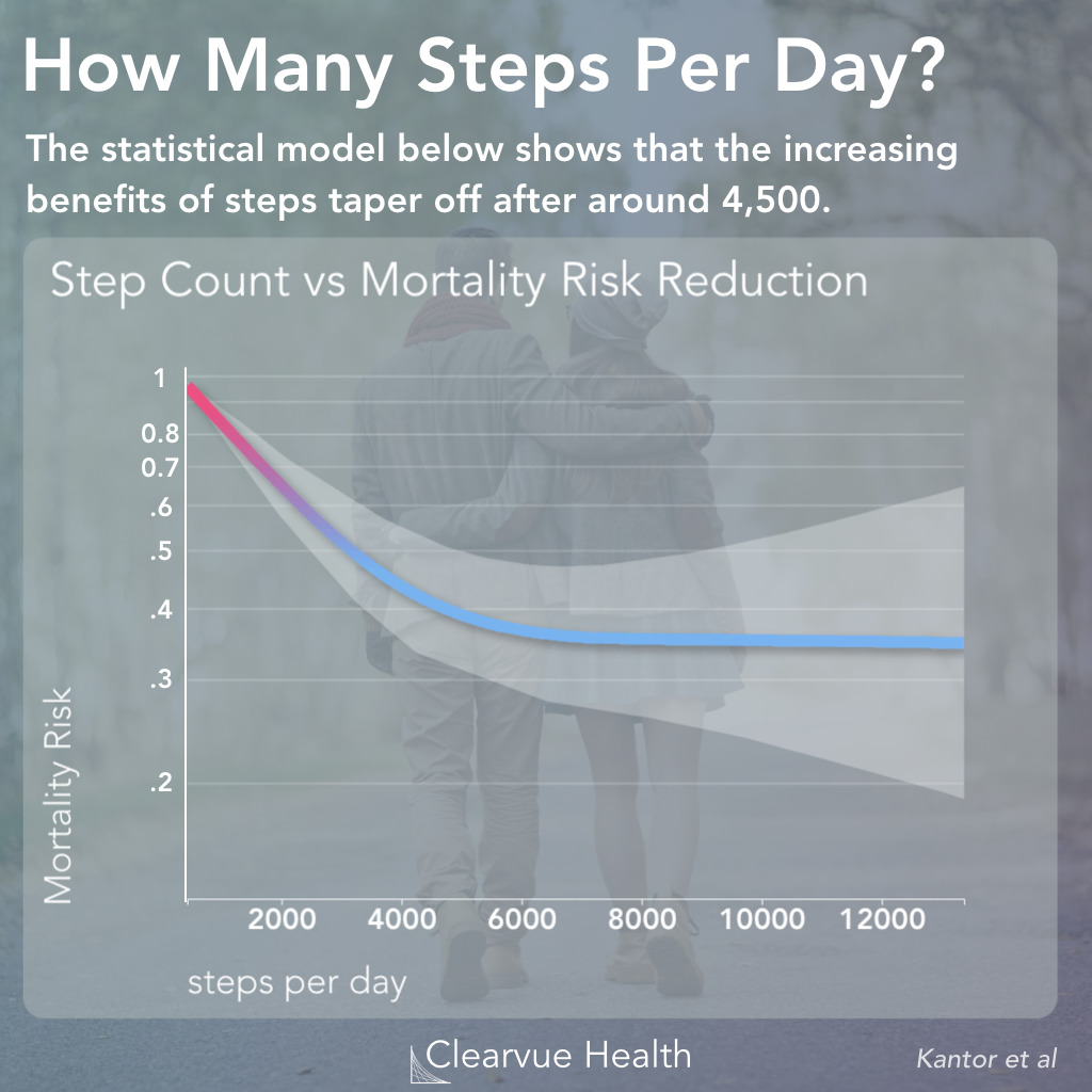 Statistical relationship between step count and mortality risk