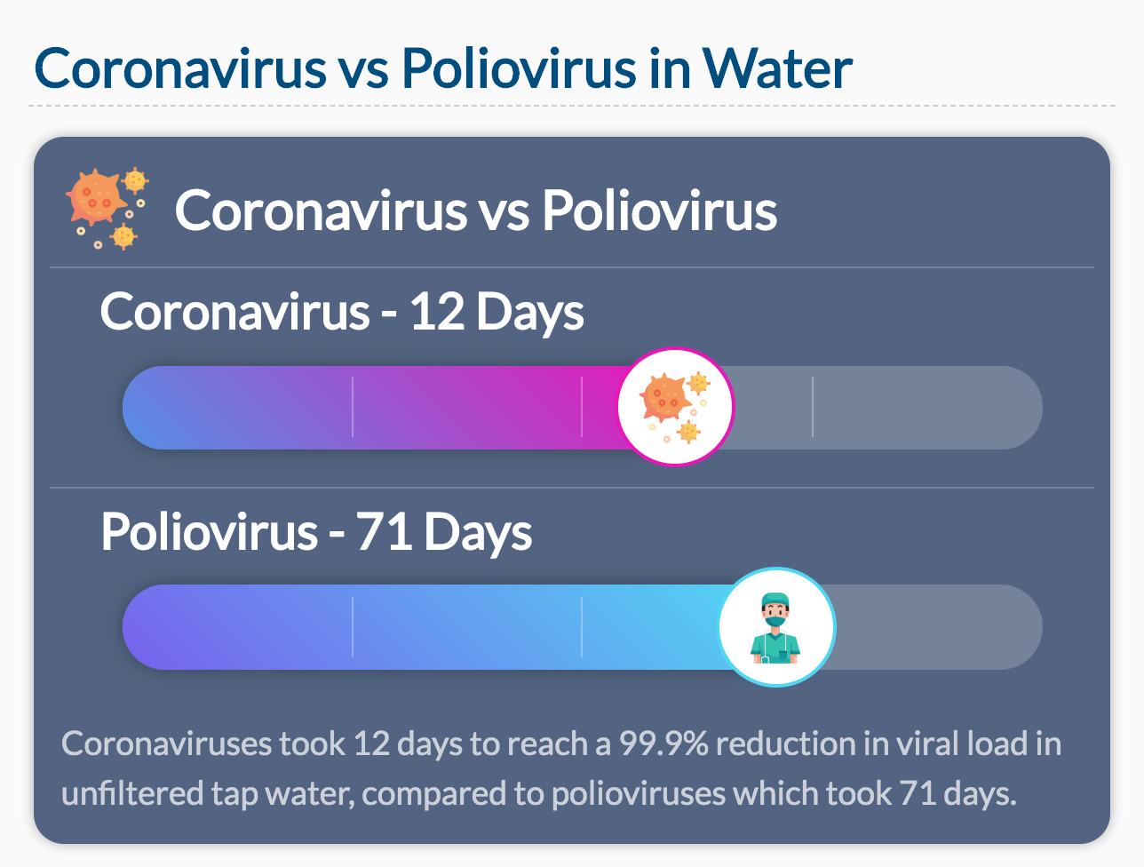 Coronavirus vs Poliovirus in Water