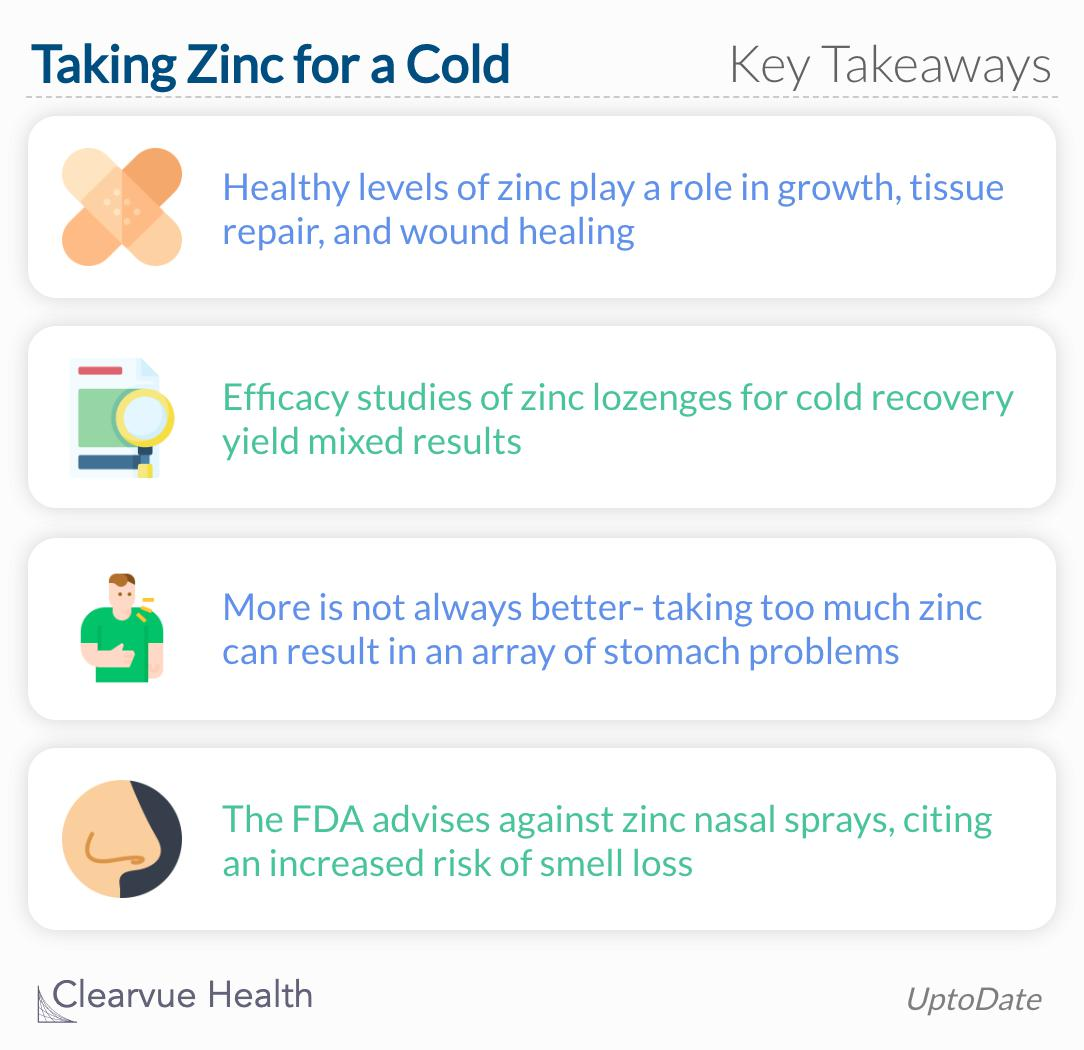 Key takeaways from a review of studies about zinc and the common cold.